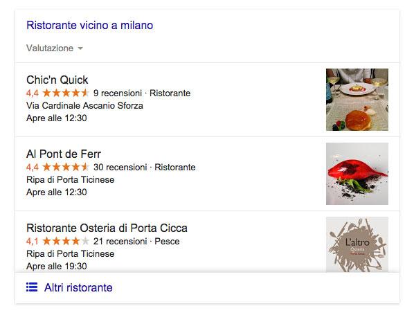 Query ristorante a Milano